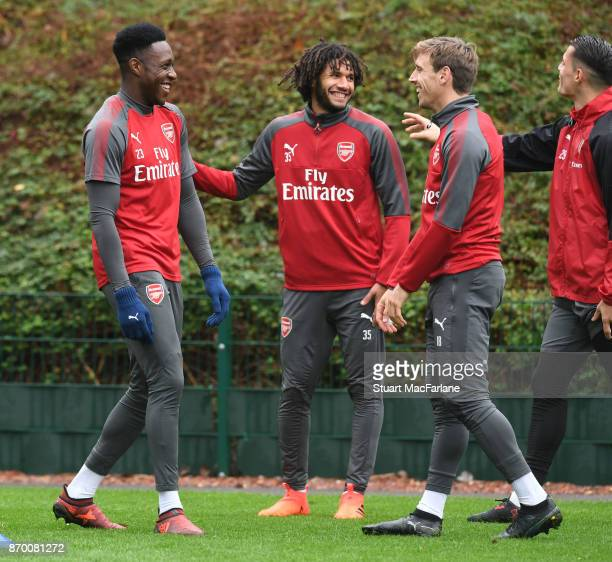 Danny Welbeck Mohamed Elneny and Nacho Monreal of Arsenal during a training session at London Colney on November 4 2017 in St Albans England