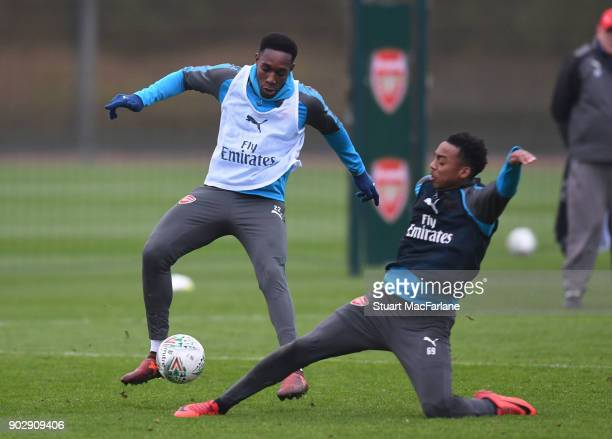 Danny Welbeck of Arsenal and Joe Willock during a training session at London Colney on January 9 2018 in St Albans England