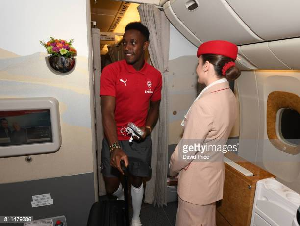 Danny Welbeck of Arsenal boards the plane at Stansted Airport on July 9 2017 in London England