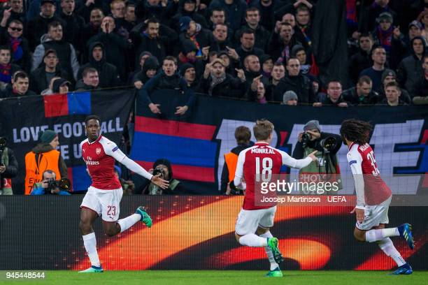 Danny Welbeck of Arsenal celebrates his goal during the UEFA Europa League quarter final leg two match between CSKA Moskva and Arsenal FC at CSKA...