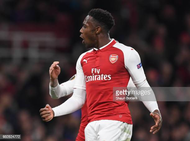 Danny Welbeck of Arsenal celebrates his penalty during the UEFA Europa League Round of 16 Second Leg match between Arsenal and AC Milan at Emirates...