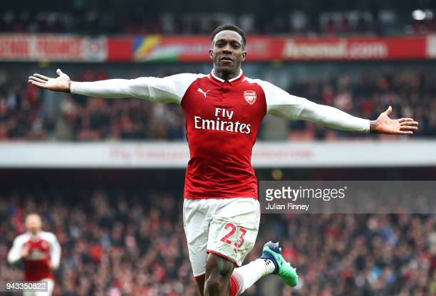 Danny Welbeck of Arsenal celebrates scoring his sides second goal during the Premier League match between Arsenal and Southampton at Emirates Stadium...
