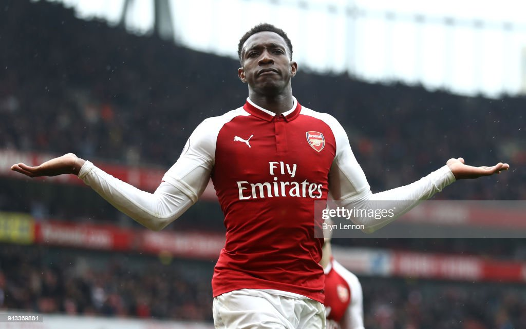 Danny Welbeck of Arsenal celebrates scoring his sides third goal during the Premier League match between Arsenal and Southampton at Emirates Stadium on April 8, 2018 in London, England.