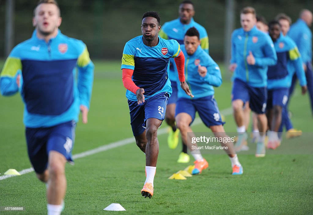 Danny Welbeck of Arsenal during a training session at London Colney on October 21, 2014 in St Albans, England.
