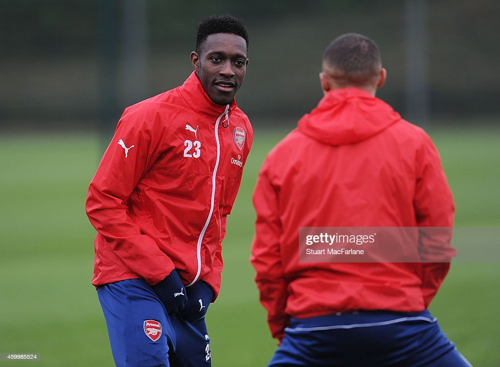 Danny Welbeck of Arsenal during a training session at London Colney on December 5, 2014 in St Albans, England.