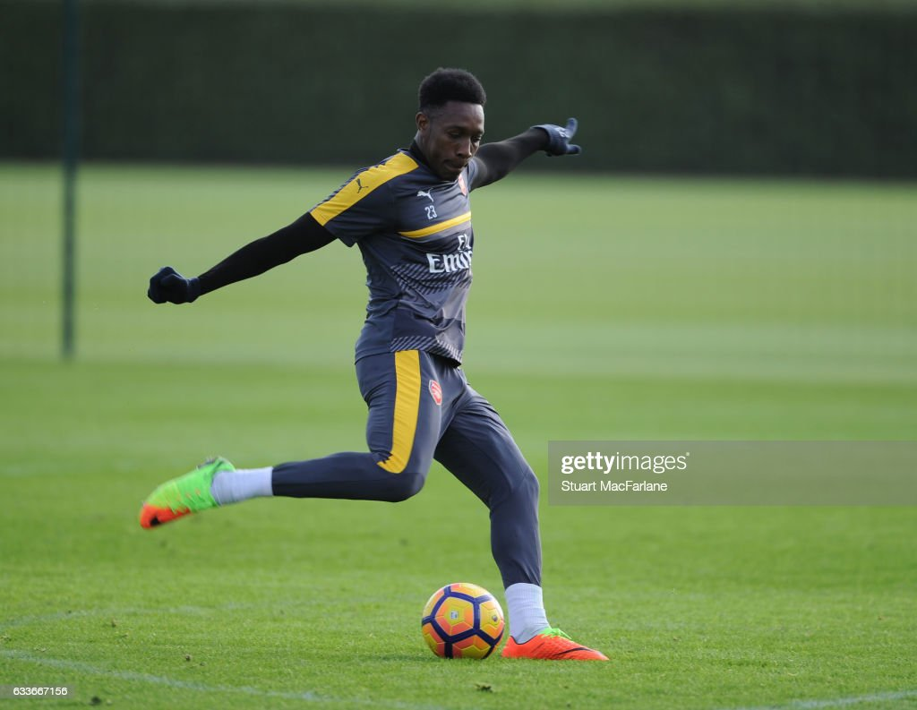 Danny Welbeck of Arsenal during a training session at London Colney on February 3, 2017 in St Albans, England.