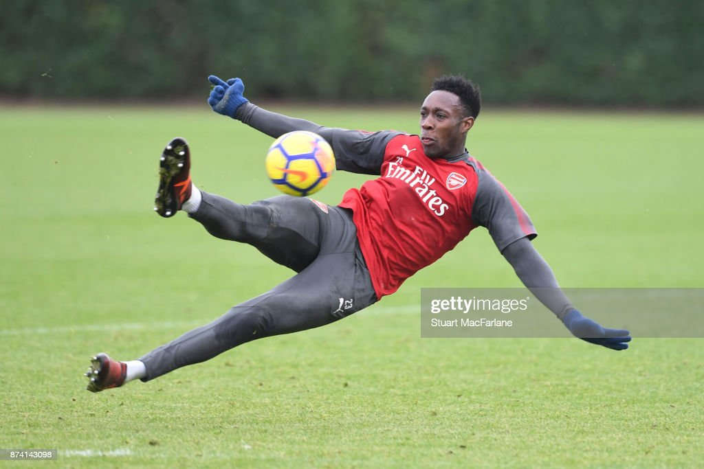 Danny Welbeck of Arsenal during a training session at London Colney on November 14, 2017 in St Albans, England.