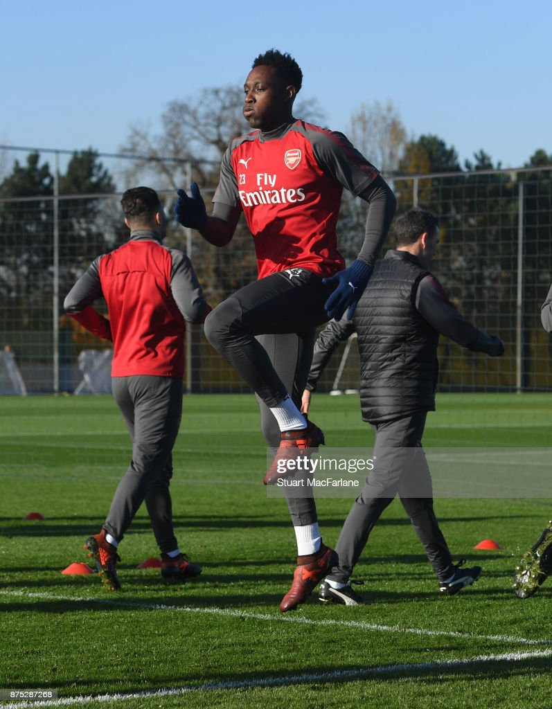 Danny Welbeck of Arsenal during a training session at London Colney on November 17, 2017 in St Albans, England.
