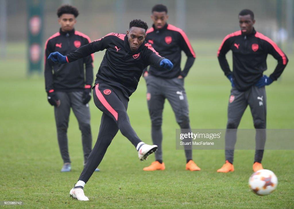 Danny Welbeck of Arsenal during a training session at London Colney on February 21, 2018 in St Albans, England.