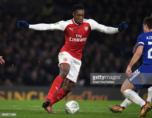 Danny Welbeck of Arsenal during the Carabao Cup SemiFinal First Leg match between Chelsea and Arsenal at Stamford Bridge on January 10 2018 in London...