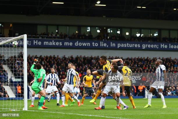 Danny Welbeck of Arsenal heads towards goal during the Premier League match between West Bromwich Albion and Arsenal at The Hawthorns on March 18...