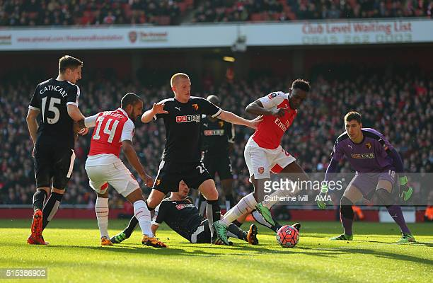 Danny Welbeck of Arsenal is watched by Craig Cathcart of Watford Theo Walcott of Arsenal Nordin Amrabat of Watford and Costel Pantilimon of Watford...