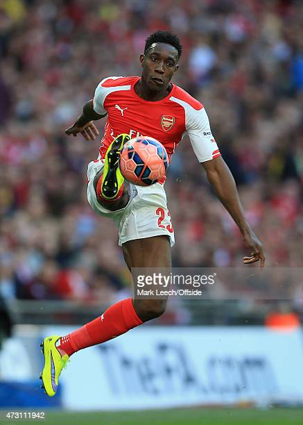 Danny Welbeck of Arsenal leaps to control the ball during the FA Cup Semi Final match between Reading and Arsenal at Wembley Stadium on April 18 2015...
