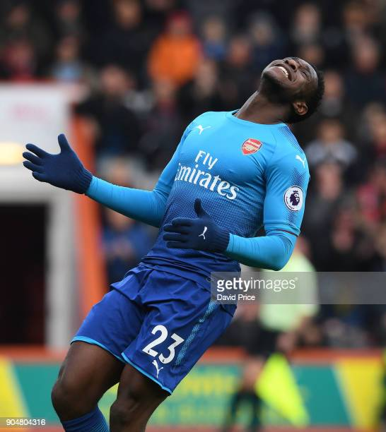 Danny Welbeck of Arsenal reacts during the Premier League match between AFC Bournemouth and Arsenal at Vitality Stadium on January 14 2018 in...