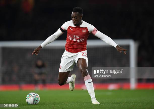Danny Welbeck of Arsenal runs with the ball during the Carabao Cup Fourth Round match between Arsenal and Blackpool at Emirates Stadium on October 31...