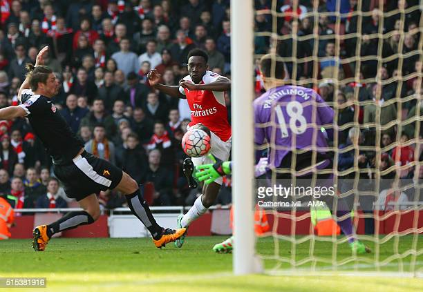 Danny Welbeck of Arsenal scores a goal to make it 12 during the Emirates FA Cup match between Arsenal and Watford at the Emirates Stadium on March 13...