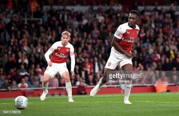 Danny Welbeck of Arsenal scores his sides second goal during the Carabao Cup Third Round match between Arsenal and Brentford at Emirates Stadium on...