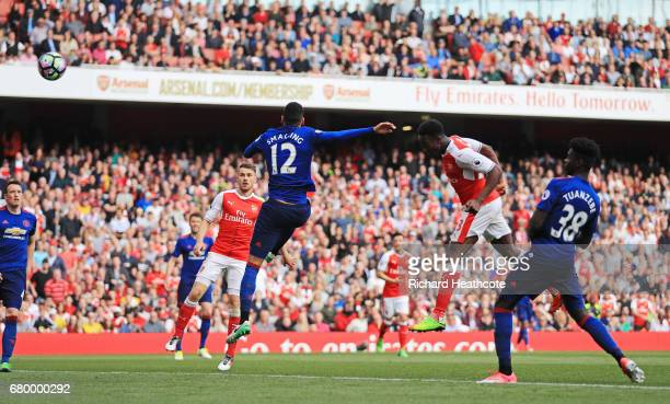 Danny Welbeck of Arsenal scores his sides second goal during the Premier League match between Arsenal and Manchester United at the Emirates Stadium...
