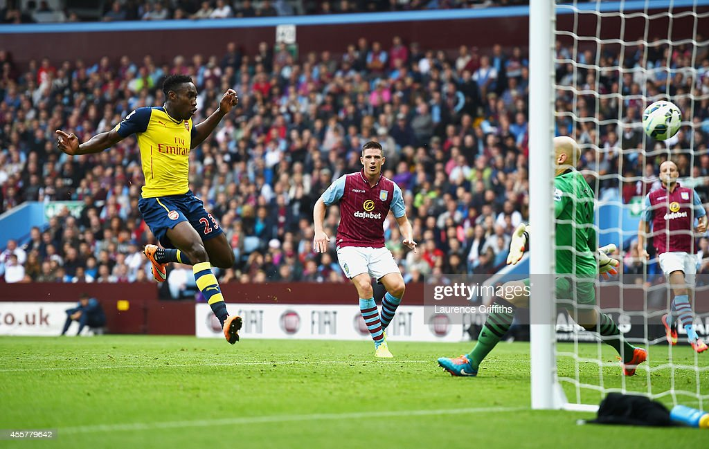 Danny Welbeck of Arsenal scores his team's second goal during the Barclays Premier League match between Aston Villa and Arsenal at Villa Park on September 20, 2014 in Birmingham, England.