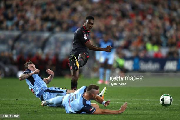 Danny Welbeck of Arsenal shoots towards goal during the match between Sydney FC and Arsenal FC at ANZ Stadium on July 13 2017 in Sydney Australia
