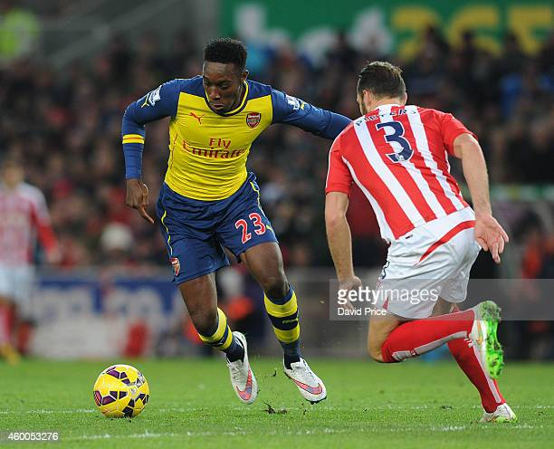 Danny Welbeck of Arsenal takes on Erik Pieters of Stoke during the match between Stoke City and Arsenal in the Barclays Premier League at Britannia...