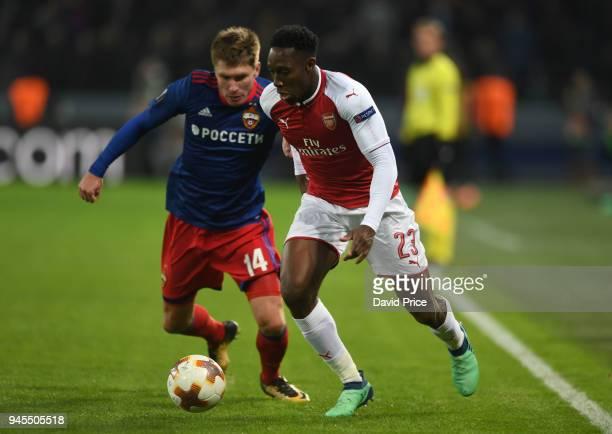 Danny Welbeck of Arsenal takes on Kirill Nababkin of CSKA during the UEFA Europa League quarter final leg two match between CSKA Moskva and Arsenal...