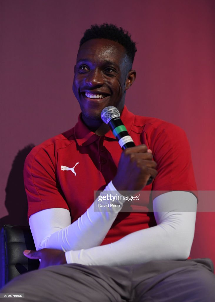 Danny Welbeck of Arsenal takes part in a Q&A during Memebers Day at Emirates Stadium on August 3, 2017 in London, England.