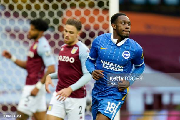 Danny Welbeck of Brighton and Hove Albion celebrates after scoring his team's first goal during the Premier League match between Aston Villa and...