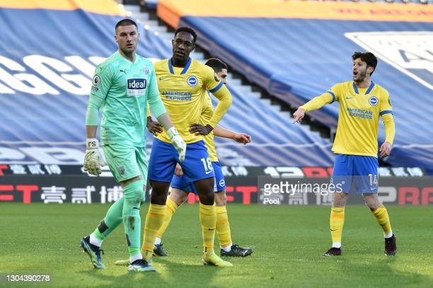 Danny Welbeck of Brighton and Hove Albion reacts after missing a penalty during the Premier League match between West Bromwich Albion and Brighton &...
