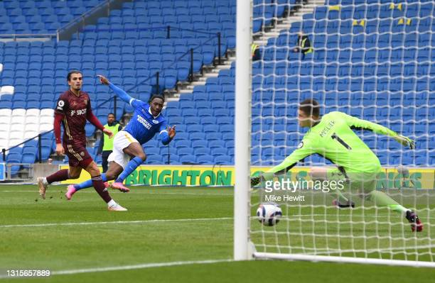 Danny Welbeck of Brighton and Hove Albion scores their side's second goal past Illan Meslier of Leeds United during the Premier League match between...