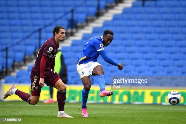 Danny Welbeck of Brighton and Hove Albion scores their side's second goal during the Premier League match between Brighton & Hove Albion and Leeds...