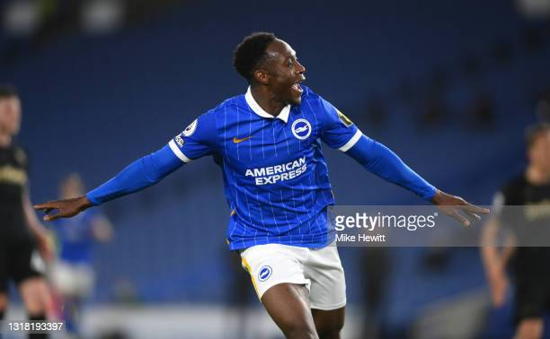 Danny Welbeck of Brighton & Hove Albion celebrates after scoring his team's first goal during the Premier League match between Brighton & Hove Albion...