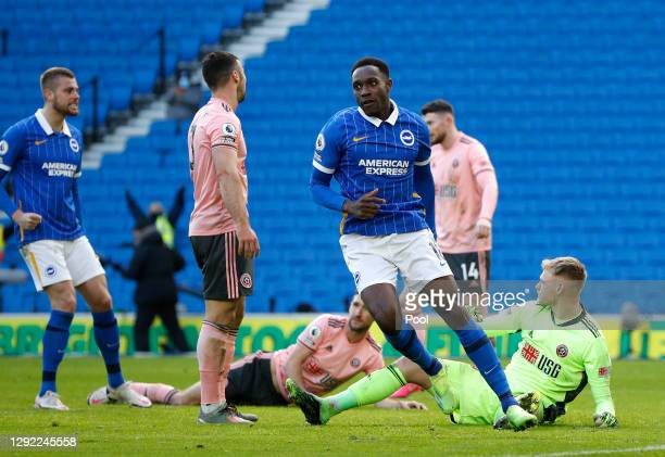 Danny Welbeck of Brighton & Hove Albion celebrates after scoring their team's first goal during the Premier League match between Brighton & Hove...