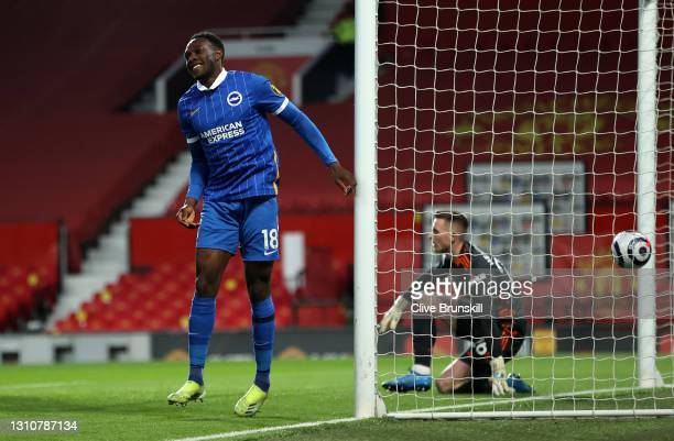 Danny Welbeck of Brighton & Hove Albion celebrates after scoring their team's first goal during the Premier League match between Manchester United...