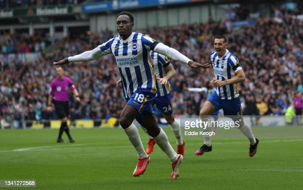 Danny Welbeck of Brighton & Hove Albion celebrates after scoring their side's second goal during the Premier League match between Brighton & Hove...