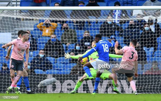 Danny Welbeck of Brighton & Hove Albion scores their team's first goal during the Premier League match between Brighton & Hove Albion and Sheffield...
