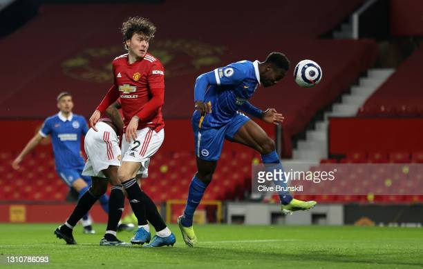 Danny Welbeck of Brighton & Hove Albion scores their team's first goal during the Premier League match between Manchester United and Brighton & Hove...