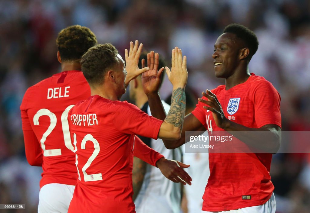 Danny Welbeck of England celebrate with Kieran Trippier of England after Danny Welbeck scored their sides second goal during the International Friendly match between England and Costa Rica at Elland Road on June 7, 2018 in Leeds, England.