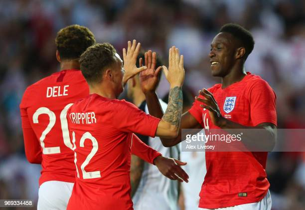 Danny Welbeck of England celebrate with Kieran Trippier of England after Danny Welbeck scored their sides second goal during the International...