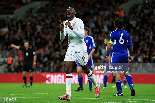 Danny Welbeck of England celebrates after scoring his team's second goal during the FIFA 2014 World Cup Group H qualifying match between England and...