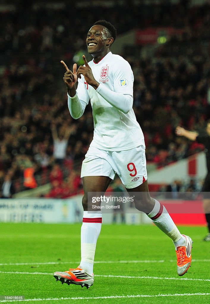 Danny Welbeck of England celebrates after scoring his team's second goal during the FIFA 2014 World Cup Group H qualifying match between England and San Marino at Wembley Stadium on October 12, 2012 in London, England.