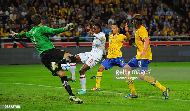 Danny Welbeck of England celebrates scores to make it 11 during the international friendly match between Sweden and England at the Friends Arena on...