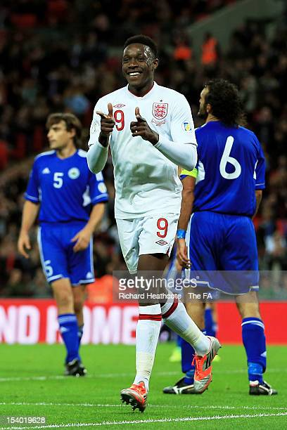 Danny Welbeck of England celebrates scoring England's second goal during the FIFA 2014 World Cup Group H qualifying match between England and San...