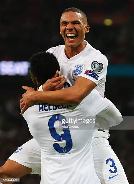 Danny Welbeck of England celebrates scoring England's third goal with Kieran Gibbs of EnglanKieran Gibbs of England during the EURO 2016 Qualifier...