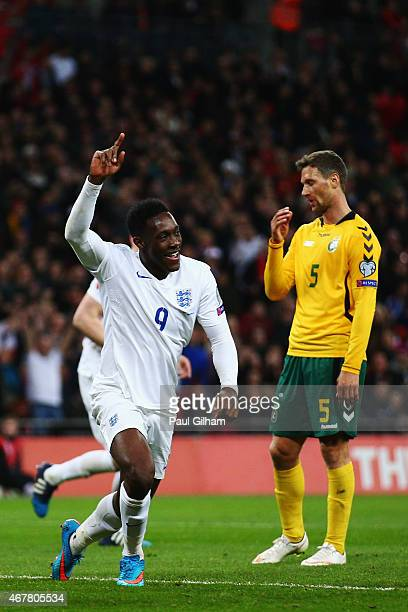 Danny Welbeck of England celebrates scoring the second goal during the EURO 2016 Qualifier match between England and Lithuania at Wembley Stadium on...