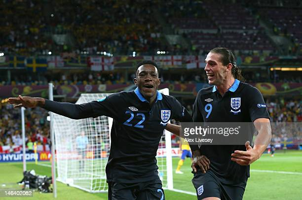 Danny Welbeck of England celebrates scoring their third goal with Andy Carroll of England during the UEFA EURO 2012 group D match between Sweden and...