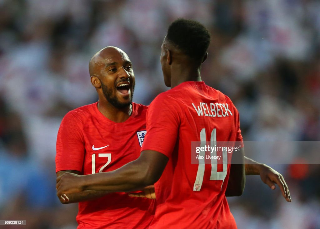 Danny Welbeck of England celebrates with team mate Fabian Delph of England after scoring his sides second goal during the International Friendly match between England and Costa Rica at Elland Road on June 7, 2018 in Leeds, England.