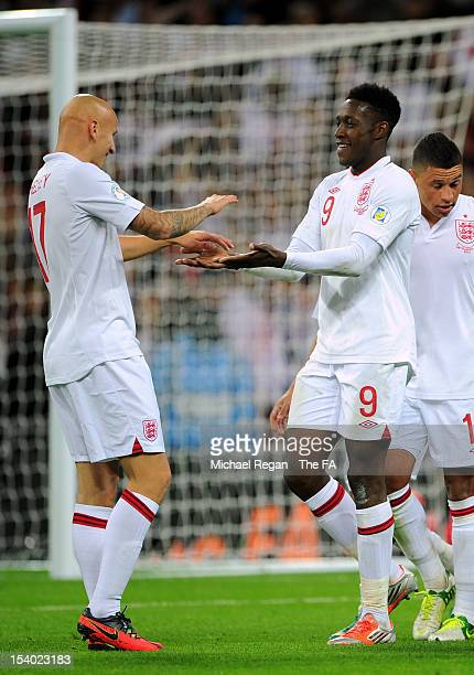 Danny Welbeck of England celebrates with teammate Jonjo Shelvey of England after scoring his team's fourth goal during the FIFA 2014 World Cup Group...
