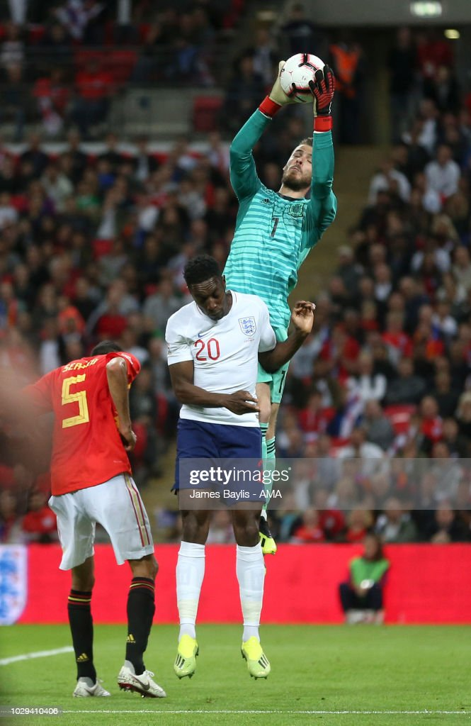 Danny Welbeck of England challenges David De Gea of Spain during the UEFA Nations League A group four match between England and Spain at Wembley Stadium on September 8, 2018 in London, United Kingdom.