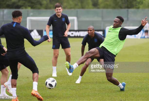 Danny Welbeck of England in action with team mates during a training session as part of the England media access at Spartak Zelenogorsk Stadium ahead...